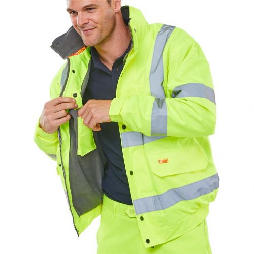 BSeen Hi Vis Yellow Fleece Lined Bomber Jacket